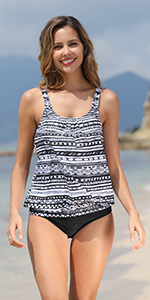 floral blouson tankini adjustable strap loose fit printed swimsuit 2 pieces bathing suits