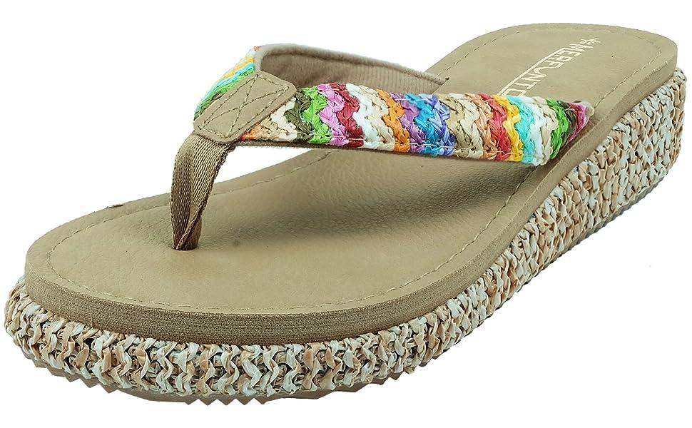 Wedge flip flops for women