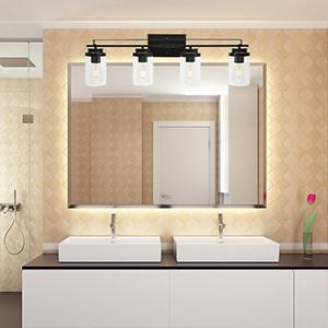4-light bathroom lighting fixtures over mirror
