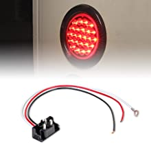 """2pc Red 4"""" 24-LED Round Tail Light with accessories included."""