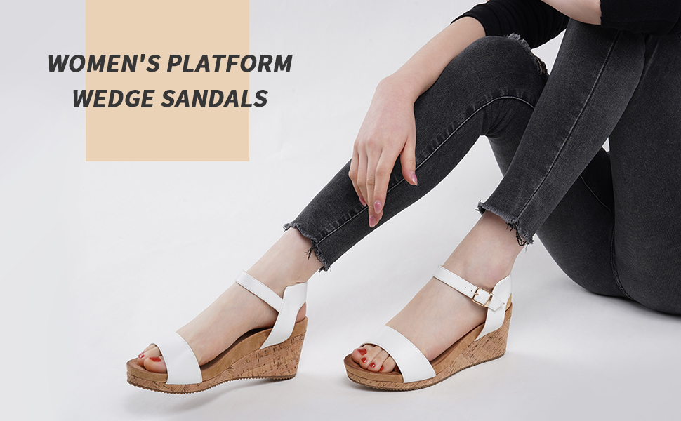 WOMEN PALTFORM WEDGE SANDALS ELASTIC ANKLE STRAP STRETCH 3 INCHES HEELS COMFORTABLE DAILY PRIME