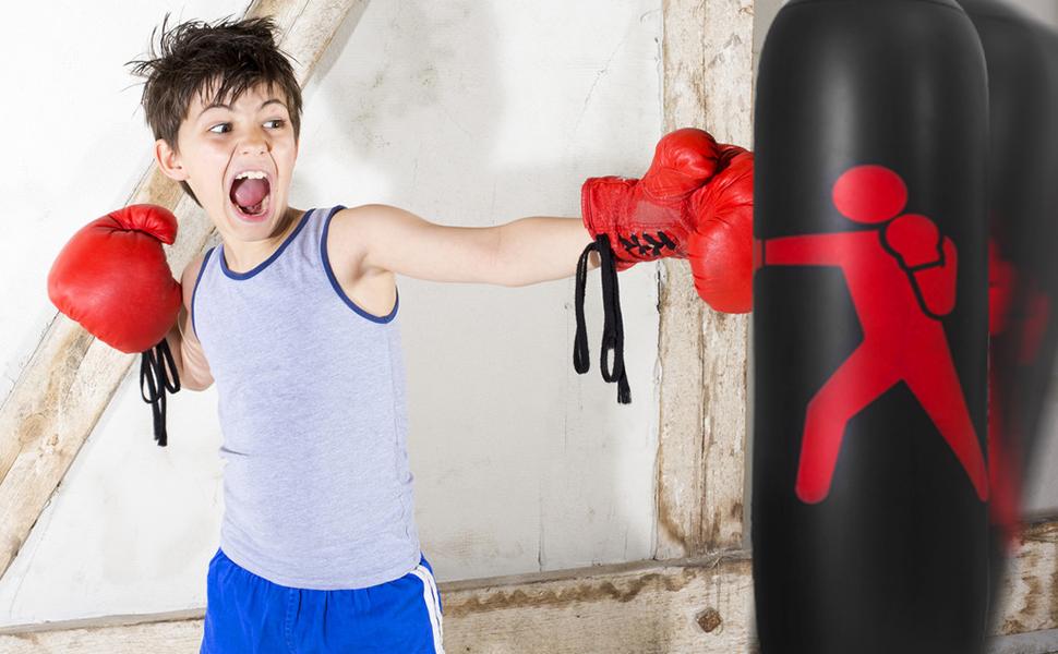 QIQU 63inch Inflatable Kids Punching Bag-Free Standing Boxing Bag,Inflatable Punching Bag for Adults and Kids,Free Standing Boxing Toy Youth Boxing Bag