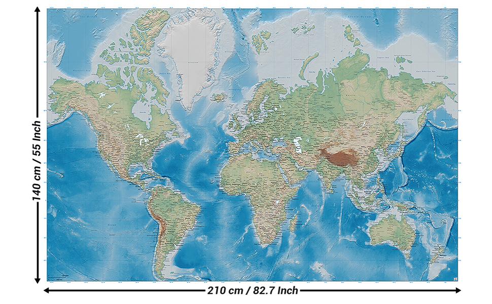 GREAT ART Mural de Pared – Mapa del Mundo – Proyección de Miller en Relieve de plástico diseño Tierra Atlas Globo Mapa geografía Foto Papel Tapiz y decoración (210x140 cm): Amazon.es: Hogar