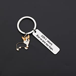 ENSIANTH Funny Corgi Keychain Life/'s Short But So Are My Legs Keychain Dogs lover Gifts Inspirational Gift
