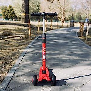 allek scooter B03 red pink girl balance training adjustable height stylish handlebar T-bar portable