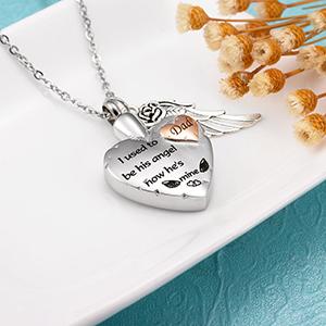 heart urn necklace engraved