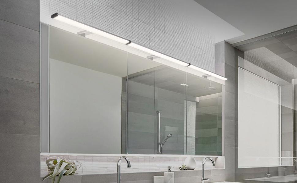 Lampe LED pour Miroir Salle de Bain de LED 12W 1000LM Longueur 60 CM Naturel 4000K IP44 Imperm/éable 3 en 1 Miroir Lumineux LED 230V Pas Dimmable Lot de 1 de Enuotek