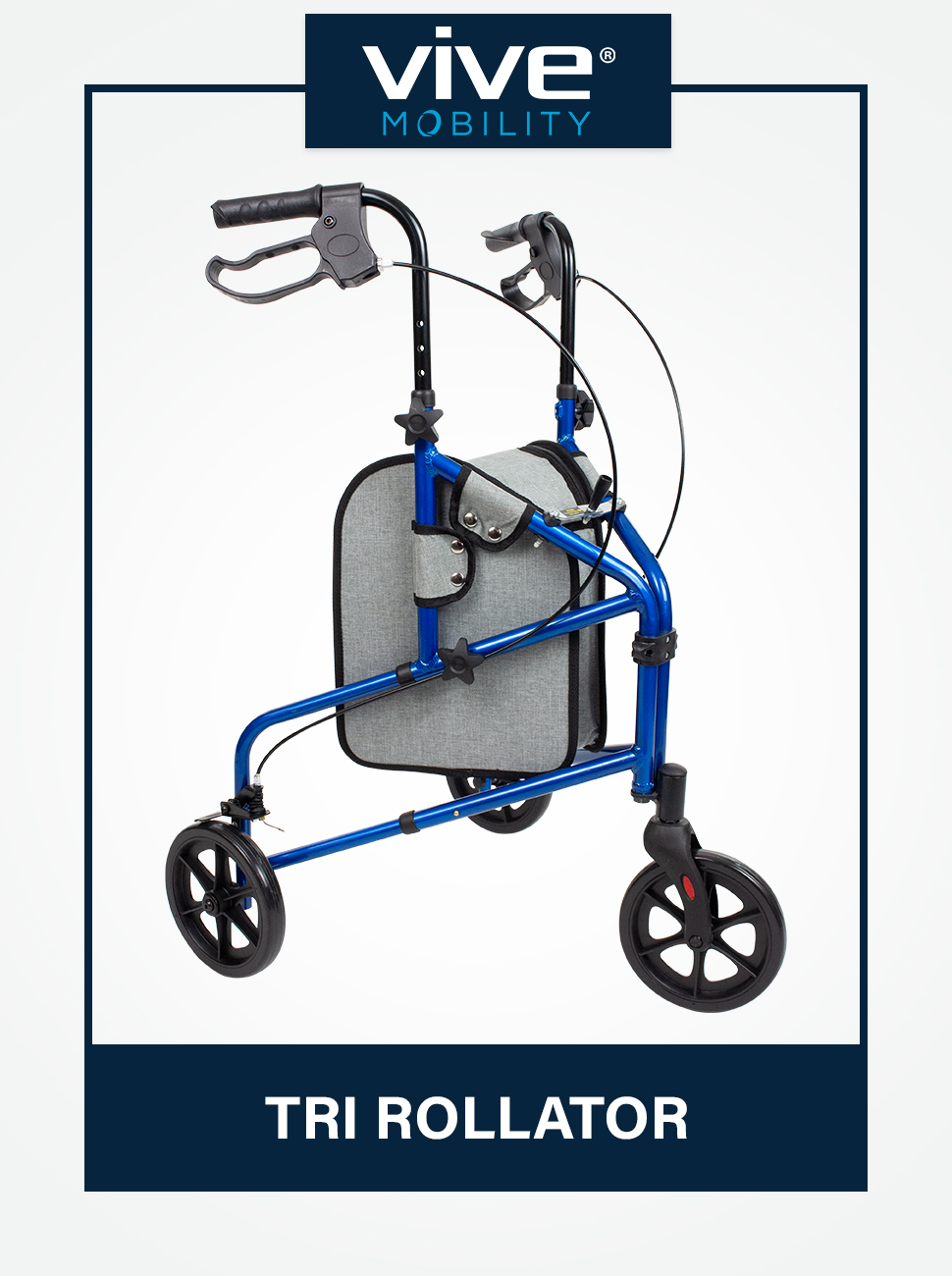 Vive Mobility 3 Wheel Rollator Walker - Lightweight and Foldable for Seniors, Elderly, Men and Women