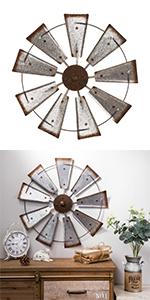 """22.05""""D Farmhouse Metal Galvanized Wind Spinner Wall Décor"""