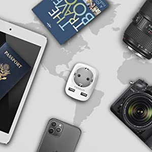 TESSAN Adaptador Enchufe USA Americano Adaptador de Viaje con 2 USB (2.4A), Español 2 Patas Europa hacia 3 Pata EEUU para Canada Mexico Tailandia Colombia(Tipo B) Blanco, Adaptador Enchufe Americano: Amazon.es: Electrónica