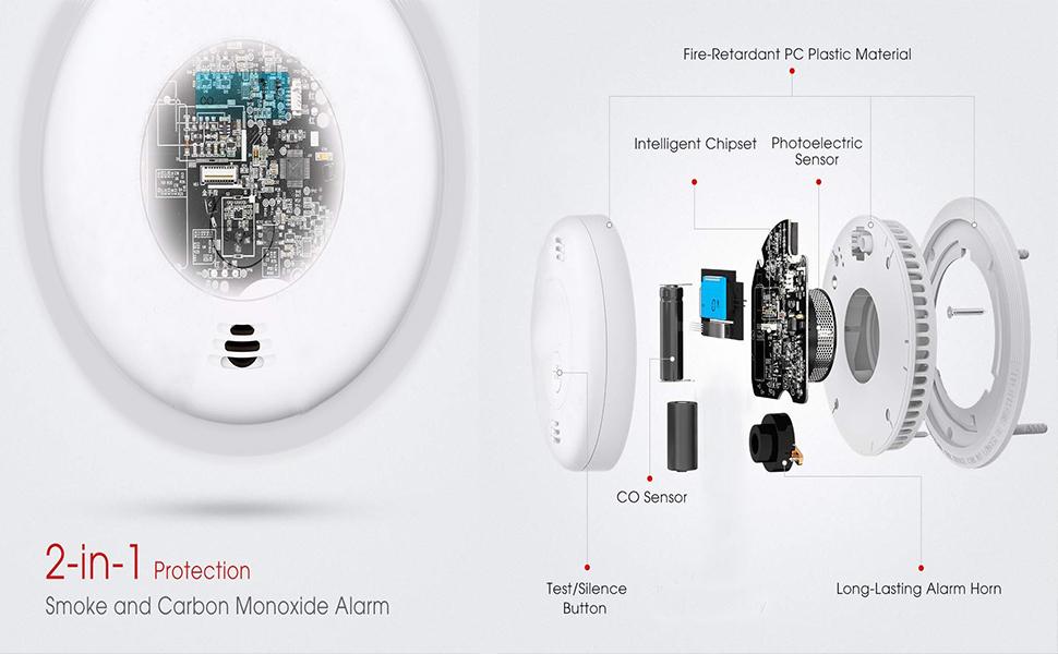 combination co and smoke alarm detector