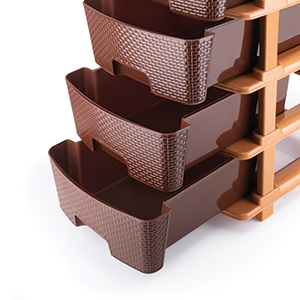 Primelife Plastic Modular Drawer 5 Tier Organisers, Drawers for Storage, for Office, Home, Multiple use Colour Dark Brown - Large (5XL, Brown)