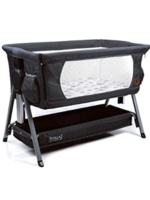 Bedside bassinet dark grey crib