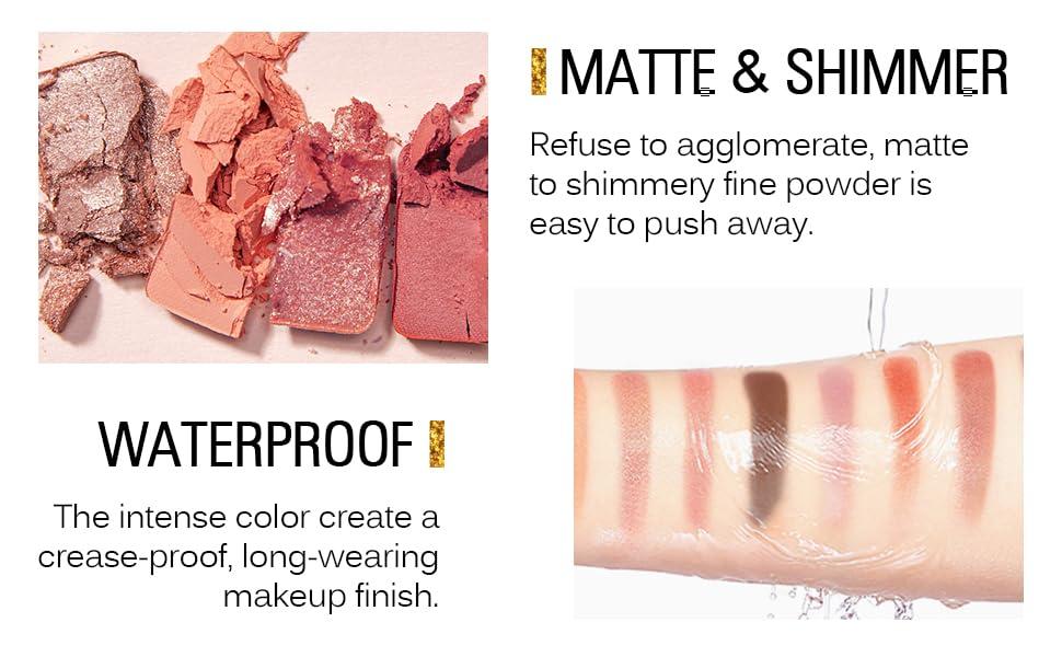 matte shimmer glitter waterproof eyeshadow