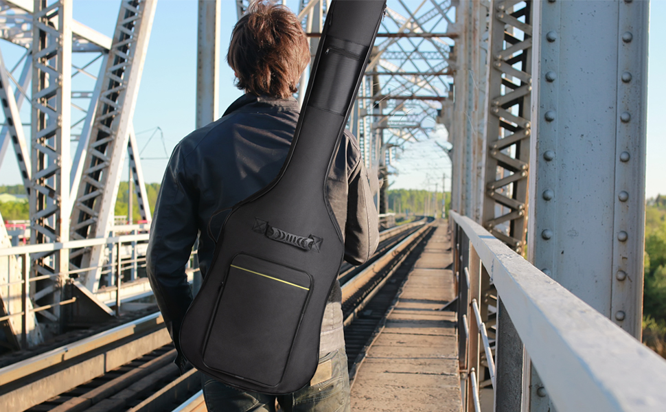 CAHAYA Electric Bass Guitar Gig Bag black Backpack 0.3 inch Thick Padding Soft Padded Case
