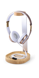 wooden headphone stand with cable holder