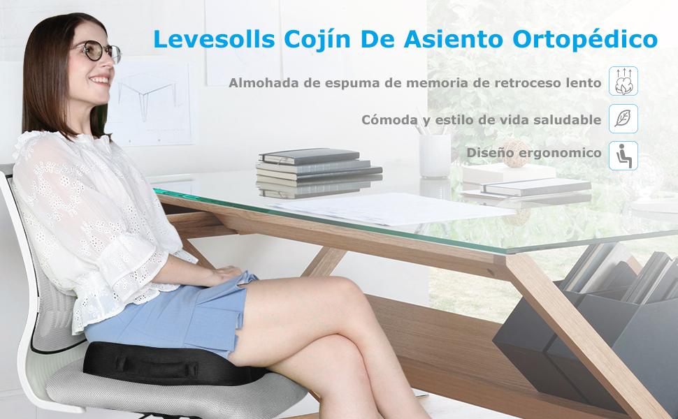 Levesolls Cojín Coxis de Espuma Memoria Cojín Ortopédico Dolor de ...