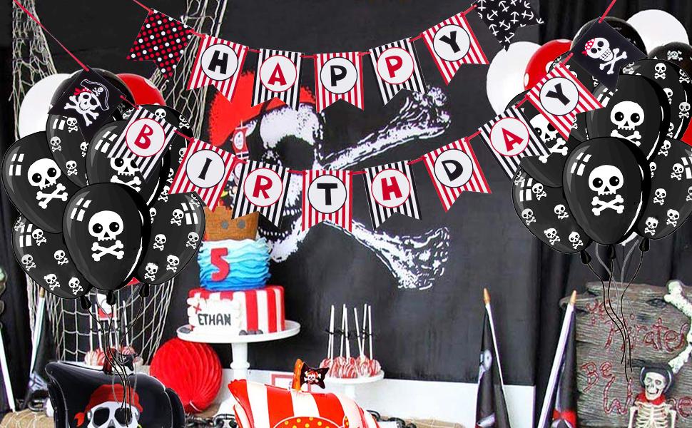 Piraten Party Wimpelkette Happy Birthday Kinderparty Kindergeburtstag