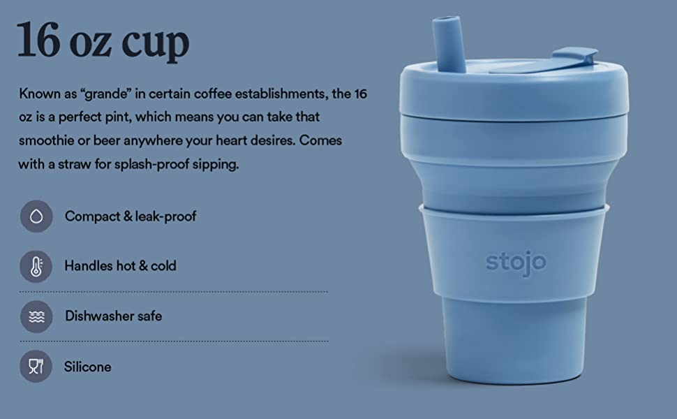 stojo blue steel 16 oz collapsible cup