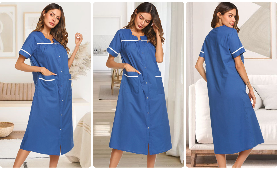 womens short sleeve long nightgown robe snap front house duster maternity sleepwear gown