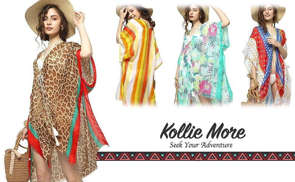Summer Beach Cover Up Lightweight Cardigan Open Front Kimono Swimwear Cover For Women