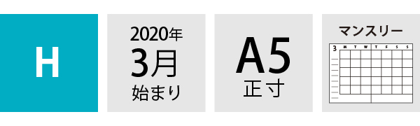 20SDR H マンスリー手帳 スペック