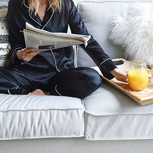 women long sleeve button down pajamas sets