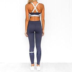 Ropa Deportiva Mujer Conjuntos de Sujetador Crop Top y Pantalon Fitness Leggings Yoga Set Chandal Verano Sportwear Outfits para Gym Running Pilates ...