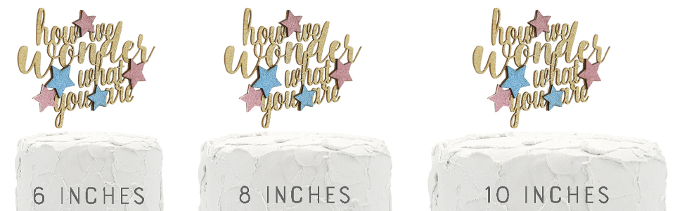 gold how we wonder what you are cake topper with stars shown on three cake sizes for size comparison