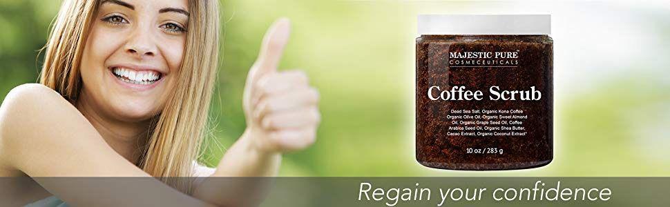 Majestic pure arabica coffee scrub face body natural organic premium best exfoliates organic top