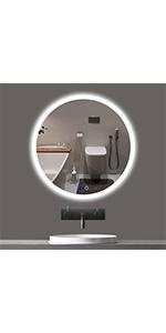24 inch round led mirror