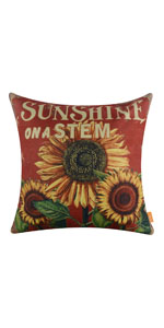 """LINKWELL 18""""x18"""" Shabby Chic Vintage Red Sunflower Burlap Cushion Cover"""