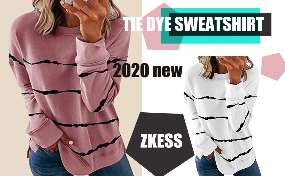 ZKESS Womens Long Sleeve Round Neck Tie Dye Sweatshirt Striped Printed Loose Soft Pullover Tops Shirts