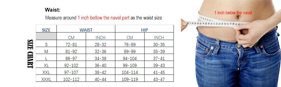 size chart waist trimmer for women