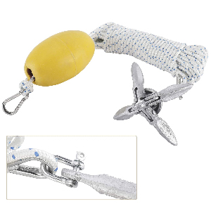 NovelBee Kayak 3.5lb Folding Anchor Accessories with Hooks,Buoy Ball and 5//16 x 30 Double Braid Nylon Rope for Fishing Kayaks,Canoe and Small Boat