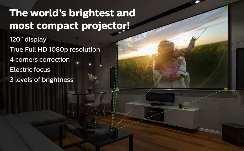 """brightest compact projector 120"""" display full 1080p 4 corners correction electric focus"""