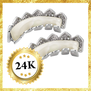 silver white gold grillz micropave diamonds joker grills for teeth mouth