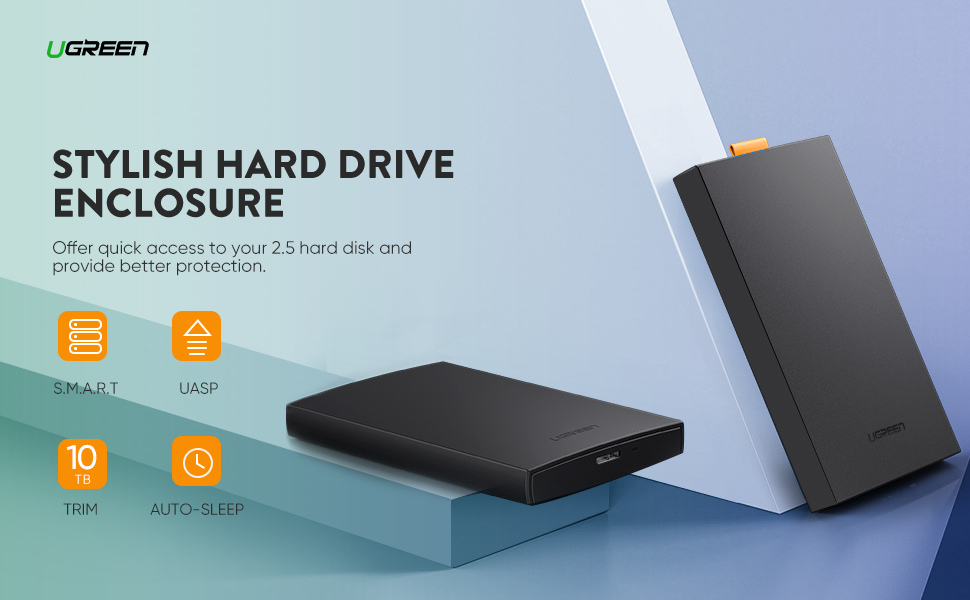 UGREEN External Hard Drive Enclosure USB 3.0 to SATA Adapter Tool Free Hard Disk Case Housing Portable for 2.5 Inch 9.5mm 7mm WD, Seagate, Toshiba, ...