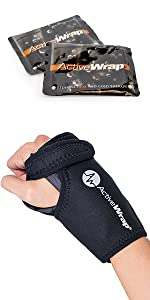 Hot cold therapy support for elbow pain and injury. Two small reusable gel packs included.