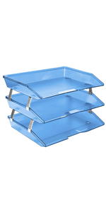 acrimet facility letter tray 3 tier side load clear blue color