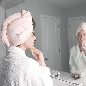 bulk hot pink headband large leopard leapord luxury anti-frizz rapid-dry hair-drying quick magic hat