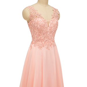 appliques bridesmaid dress