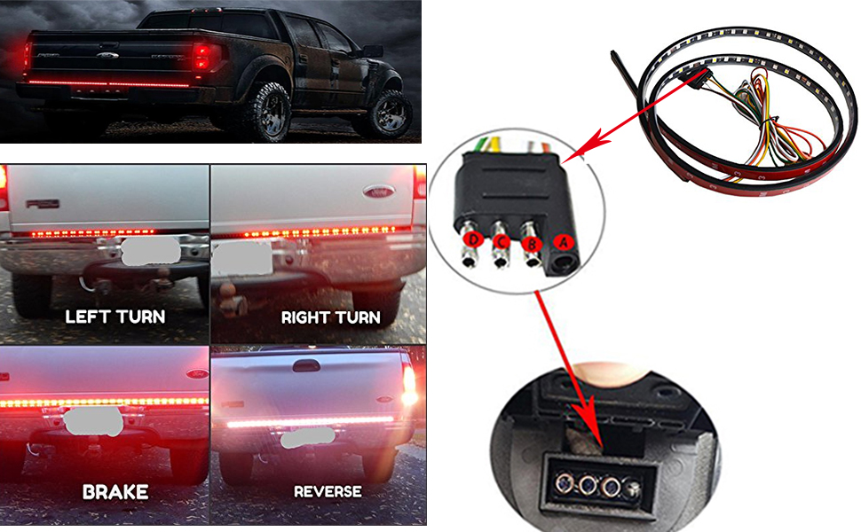 BEEYEO LED Tailgate Light Bar 60 Triple Row Tailgate LED Light Strip Brake,Running,Sequential Amber Turn Signal,Reverse Tail Light Bar for Pickup Truck Ford Dodge Ram Chevy GMC SUV No Drill Install