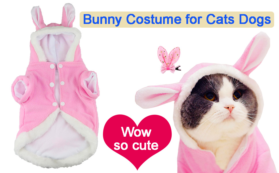 cat halloween bunny costume clothes for cats cat bunny hood hat ears