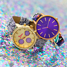 watch, wristwatch, print, purple