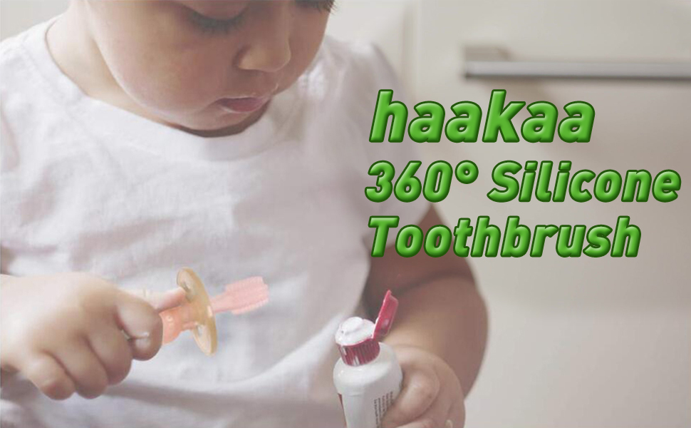 haakaa 360° Silicone Baby Toothbrush Teether with Suction Base Infant Toothbrush 1pc (Pink)