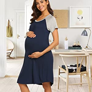Lucyme Damen Nachthemd Stillnachthemd Schwangerschaft Umstandsnachthemd Kurzarm Schwanger mit Rei/ßverschluss f/ür Schwangere