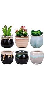 ROSE CREATE 6 Pcs 2.5 Inches Mini Ceramic Succulent Plant Pots