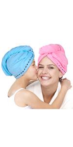 Marr/ón + Caqui + Rosa Wenosda 3 Piezas Toalla para el Cabello Toallas de Turbante para el Cabello de Secado R/ápido Turbante de Microfibra Suave y Absorbente con Lazo y Bot/ón para Mujer