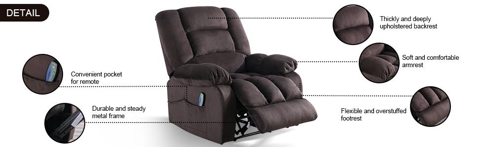 massage recliner chair with heat